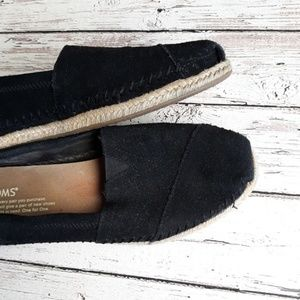 TOMS Suede Leather Espadrille Classics All Black 7